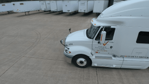 View of a training cab at the Shipper's Choice CDL truck driving school in Chester, VA. This facility offers Class A & Class B CDL training, as well as refresher courses.